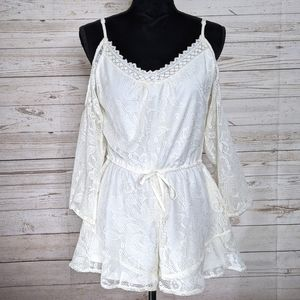 Anthro Band of Gypsies Cold Shoulder Lace Romper